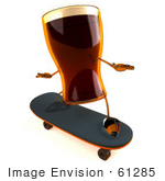 #61285 Royalty-Free (Rf) Illustration Of A 3d Root Beer Character Skateboarding - Version 3