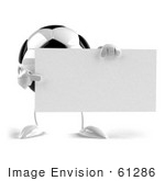 #61286 Royalty-Free (RF) Illustration Of A 3d Soccer Ball Character With Arms And Legs, Holding A Blank Sign - Version 2 by Julos