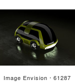 #61287 Royalty-Free (Rf) Illustration Of A 3d Futuristic Green Concept Car With Tinted Windows - Version 2