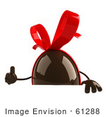 #61288 Royalty-Free (Rf) Illustration Of A 3d Chocolate Easter Egg Character Giving The Thumb Up And Holding A Sign