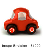#61292 Royalty-Free (RF) Illustration Of A 3d Compact Red Car In Side View by Julos