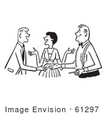 #61297 Cartoon Of A Sketch Of A Lady Politely Introducing Two Men In Black And White - Royalty Free Vector Clipart