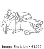 #61299 Cartoon Of A Sketch Of A Gentleman Helping A Lady Into A Car In Black And White - Royalty Free Vector Clipart