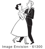 #61300 Cartoon Of A Sketch Of A Formal Young Couple Dancing In Black And White - Royalty Free Vector Clipart