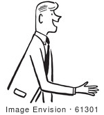 #61301 Cartoon Of A Salesman Or Gentleman Reaching Out To Shake Hands During An Introduction In Black And White - Royalty Free Vector Clipart
