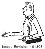 #61308 Cartoon Of A Gentleman Holding A Pipe And Reaching Out To Shake Hands During An Introduction In Black And White - Royalty Free Vector Clipart