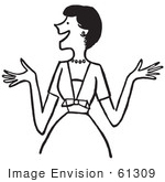 #61309 Cartoon Of An Outgoing Lady Showing Excitement Or Making Introductions In Black And White - Royalty Free Vector Clipart