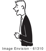#61310 Cartoon Of A Friendly Man Smiling In Black And White - Royalty Free Vector Clipart