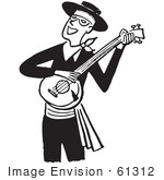 #61312 Cartoon Of A Man Smiling And Playing A Banjo In Black And White - Royalty Free Vector Clipart