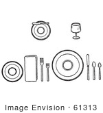 #61313 Cartoon Of Proper Place Settings Of Dishes On A Table In Black And White - Royalty Free Vector Clipart