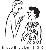 #61315 Cartoon Of A Couple Having A Conversation In Black And White - Royalty Free Vector Clipart