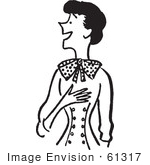 #61317 Cartoon Of A Jolly Lady Touching Her Chest In Black And White - Royalty Free Vector Clipart
