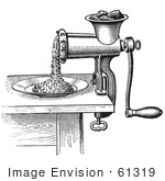 #61319 Retro Clipart Of A Vintage Antique Meat Grinder Or Chopper In Black And White - Royalty Free Vector Illustration