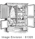 #61320 Retro Clipart Of A Vintage Antique Refrigerator With An Ice Compartment And Air Flow Shown In Black And White - Royalty Free Vector Illustration