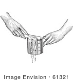 #61321 Retro Clipart Of Hands Leveling Off A Measuring Cup With A Knife In Black And White - Royalty Free Vector Illustration