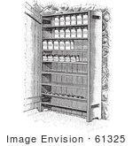 #61325 Retro Clipart Of Vintage Cupboard Shelves With Canned Goods In Black And White - Royalty Free Vector Illustration