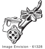 #61328 Retro Clipart Of A Vintage Antique Gas Stove Pipe Mixer Device In Black And White - Royalty Free Vector Illustration