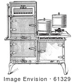 #61329 Retro Clipart Of A Vintage Antique Fireless Cooking Gas Stove In Black And White - Royalty Free Vector Illustration