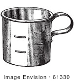 #61330 Retro Clipart Of A Vintage Metal Measuring Cup In Black And White - Royalty Free Vector Illustration by JVPD