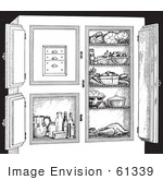 #61339 Retro Clipart Of A Vintage Antique Refrigerator With Food In Black And White - Royalty Free Vector Illustration