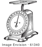 #61340 Retro Clipart Of A Vintage Kitchen Scale In Black And White - Royalty Free Vector Illustration