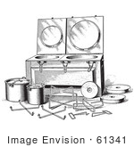 #61341 Retro Clipart Of A Vintage Antique Fireless Cooker And Stones In Black And White - Royalty Free Vector Illustration