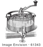#61343 Retro Clipart Of A Vintage Antique Cake Mixer In Black And White - Royalty Free Vector Illustration