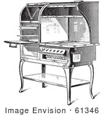 #61346 Retro Clipart Of A Vintage Antique Electric Stove In Black And White - Royalty Free Vector Illustration