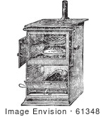#61348 Retro Clipart Of A Vintage Antique Gas Cooking Stove With Food Baking In The Oven In Black And White - Royalty Free Vector