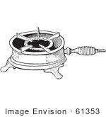#61353 Retro Clipart Of A Vintage Antique Single Burner Gas Stove For Boiling In Black And White - Royalty Free Vector
