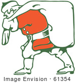 #61354 Clipart Of A Retro Santa Carrying A Sack Over His Shoulder - Royalty Free Vector Illustration
