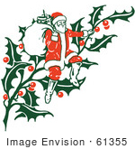 #61355 Clipart Of A Retro Christmas Santa Claus Sitting On Holly With A Sack - Royalty Free Vector Illustration