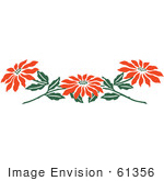 #61356 Clipart Of A Border Of Red Poinsettia Flowers - Royalty Free Vector Illustration