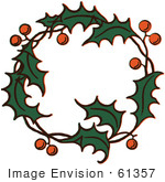 #61357 Clipart Of A Retro Christmas Holly Wreath - Royalty Free Vector Illustration