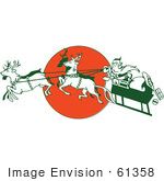 #61358 Clipart Of A Retro Christmas Santa Claus Controlling A Flying Reindeer Sleigh Over A Red Moon - Royalty Free Vector Illustration