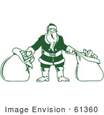 #61360 Clipart Of A Retro Green Santa With Two Sacks Of Christmas Presents - Royalty Free Vector Illustration