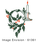 #61361 Clipart Of A Retro Christmas Holly Wreath And Candle - Royalty Free Vector Illustration