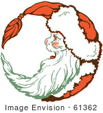 #61362 Clipart Of A Retro Christmas Santa Laughing In Profile And Forming A Circle - Royalty Free Vector Illustration