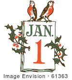 #61363 Clipart Of A Retro New Year January 1 Calendar With Holly And Birds - Royalty Free Vector Illustration