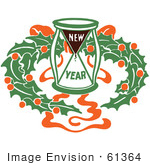 #61364 Clipart Of A Retro New Year Hourglass And Holly Wreath - Royalty Free Vector Illustration