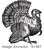 #61367 Retro Clipart Of A Vintage Thanksgiving Turkey Bird Gobbler In Black And White - Royalty Free Vector Illustration  by JVPD