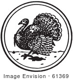 #61369 Retro Clipart Of A Vintage Thanksgiving Turkey Bird Circle In Black And White - Royalty Free Vector Illustration  by JVPD