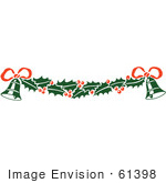 #61398 Clipart Of A Retro Christmas Bell Bow And Holly Border - Royalty Free Vector Illustration by JVPD