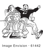 #61442 Retro Clipart Of A Vintage Teenage High School Boy Yawning Rudely In Class In Black And White - Royalty Free Vector Illustration