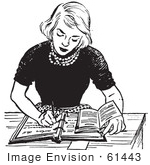 #61443 Retro Clipart Of A Vintage Teen Girl Doing Homework At A Desk In Black And White - Royalty Free Vector Illustration