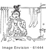 #61444 Retro Clipart Of A Vintage Teen Girl Washing Her Face In Black And White - Royalty Free Vector Illustration