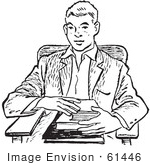 #61446 Retro Clipart Of A Vintage Teenage School Boy With Books At A Desk In Black And White - Royalty Free Vector Illustration
