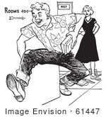 #61447 Retro Clipart Of A Vintage Teenage High School Boy Rudely Knocking Down A Girls Books In Black And White - Royalty Free Vector Illustration