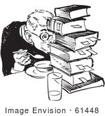 #61448 Retro Clipart Of A Vintage Teenage Boy Hiding Behind Books While Eating In Black And White - Royalty Free Vector Illustration