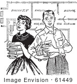 #61449 Retro Clipart Of A Vintage Teenage Couple With Books And School Blueprints In Black And White - Royalty Free Vector Illustration